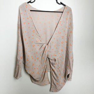 Free People Knotted Back Moon Print Blouse